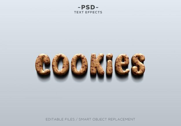 Efeito realista de cookies 3d texto editável
