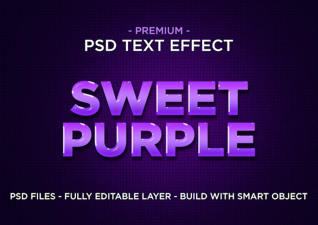 Efeito roxo do texto dos estilos psd roxos doces do photoshop