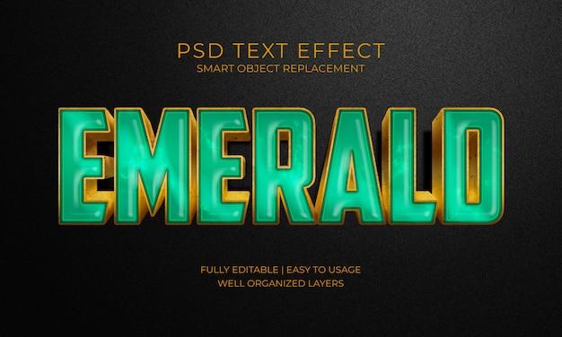 Efeito texto esmeralda de pedra verde