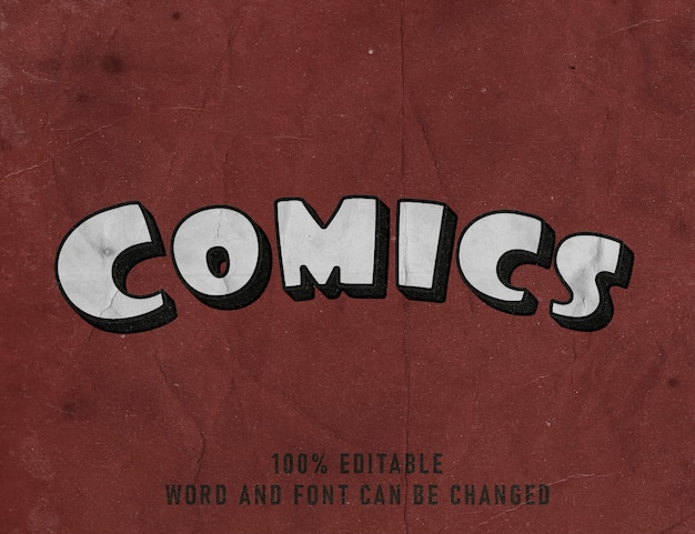 Efeito texto texto quadrinhos fonte editável quadrinhos estilo cor cartaz
