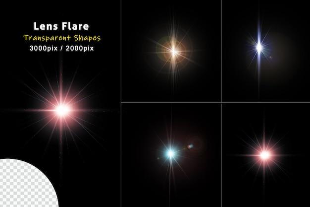 Efeitos brilhantes coloridos do lens flare