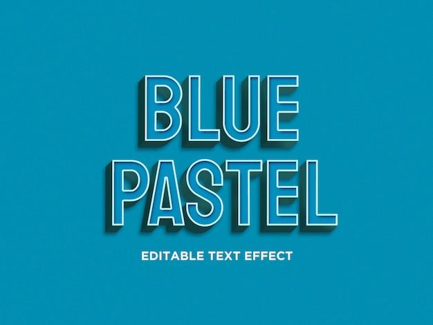 Efeitos de texto 3d azul pastel premium psd