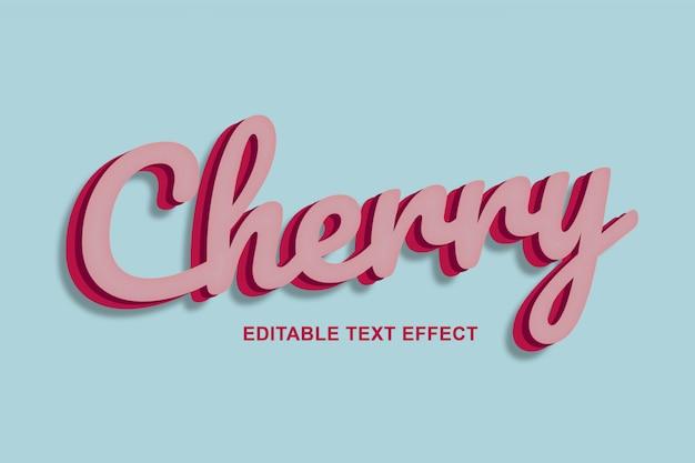 Efeitos de texto 3d de cereja vermelha premium psd