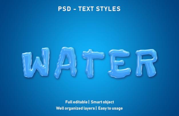 Efeitos de texto de água estilo psd editável