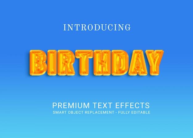 Efeitos de texto de aniversário