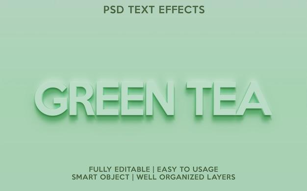 Efeitos de texto de chá verde