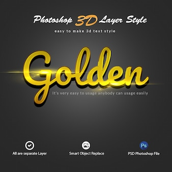 Efeitos de texto de estilo de camada de ouro 3d photoshop
