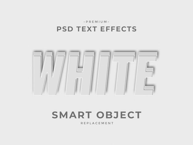 Efeitos de texto de estilo de camada de photoshop 3d branco
