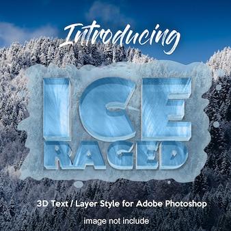 Efeitos de texto de estilo de camada de photoshop gelo congelado 3d