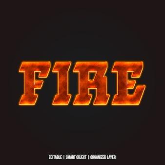 Efeitos de texto de fogo com fumaça de movimento