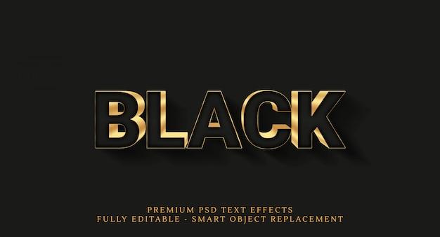 Efeitos de texto de luxo ouro isolados no preto