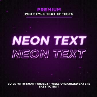 Efeitos de texto de néon brilhante roxo