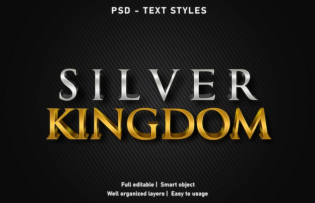 Efeitos de texto de prata kingom estilo psd editável