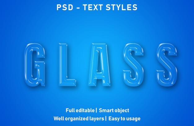 Efeitos de texto de vidro estilo psd editável