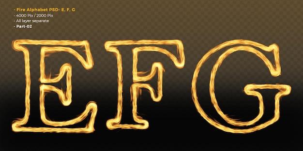 Efeitos de texto do alfabeto de fogo
