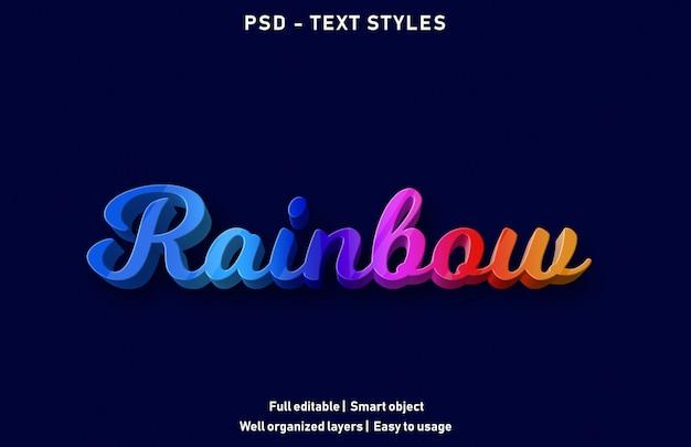 Efeitos de texto do arco-íris estilo psd editável