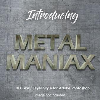 Efeitos de texto do estilo da camada do photoshop do cromo do ferro do metal 3d