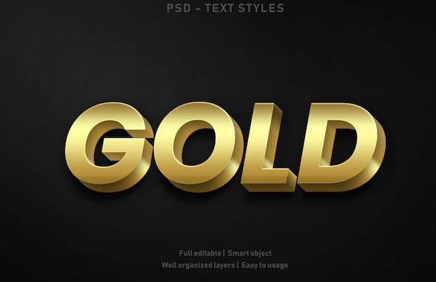 Efeitos de texto dourado estilo premium editável