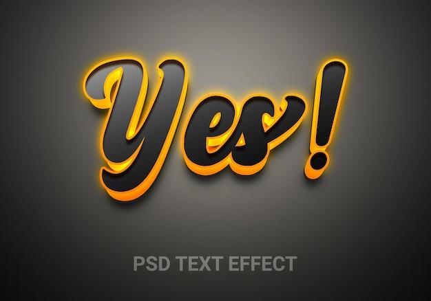 Efeitos de texto editáveis de estilo criativo sim brilhante