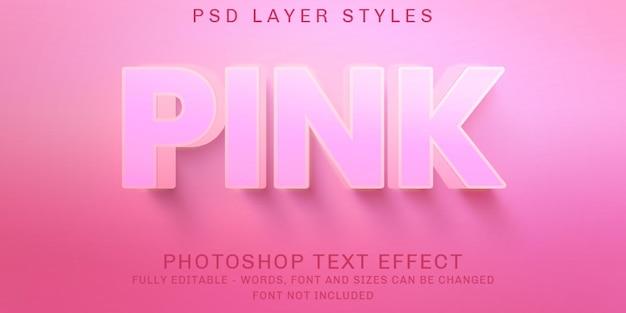 Efeitos de texto editáveis e sólidos rosa