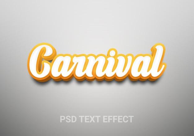 Efeitos de texto editáveis no estilo cartoon de carnaval