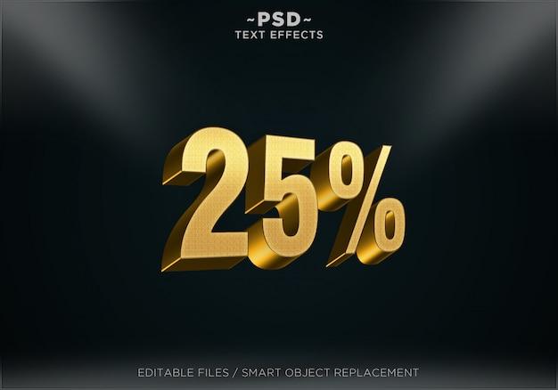 Efeitos de texto editável de 25% de desconto dourado