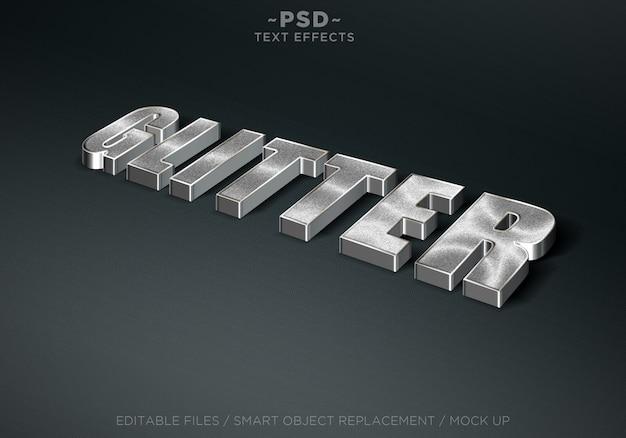 Efeitos de texto editável do estilo 3d glitter prata