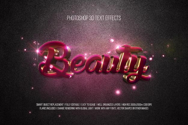 Efeitos de texto em photoshop 3d beleza