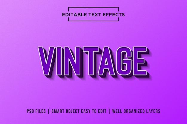 Efeitos de texto premium retrô roxos