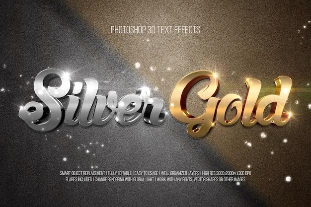 Efeitos de texto silvergold 3d