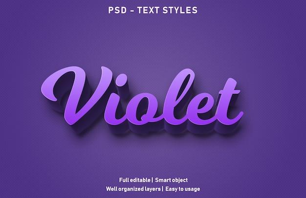Efeitos de texto violeta estilo psd editável