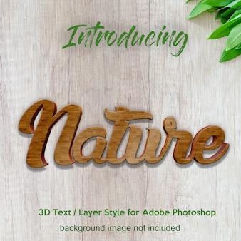 Efeitos do texto do estilo da camada do photoshop da placa da madeira da madeira 3d