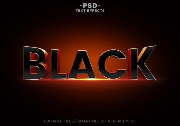 Efeitos editáveis de laranja preto 3d texto editável