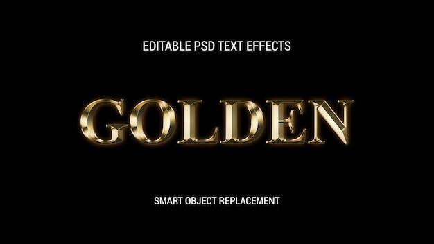 Efeitos editáveis de texto dourado