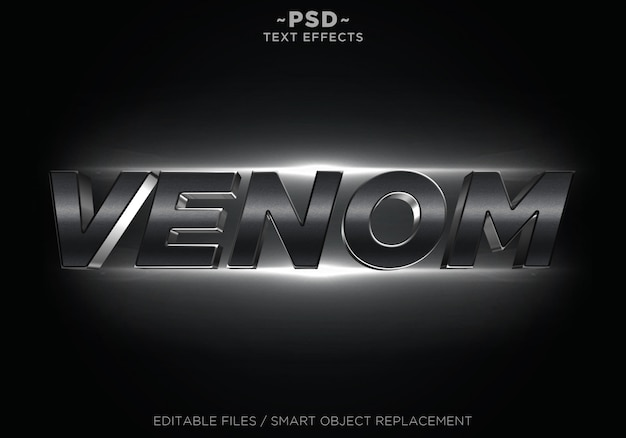 Efeitos editáveis do cinema 3d em preto texto editável