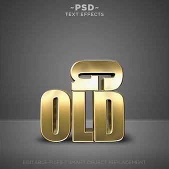 Efeitos realistas de estilo ouro 3d texto editável