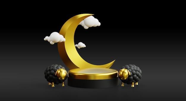 Eid al adha pódio para promoção com fundo 3d islâmico realista dourado
