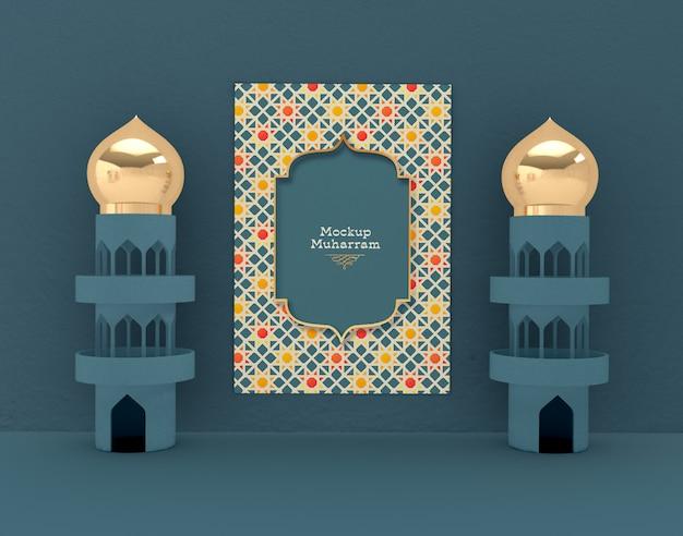 Eid mubarak, maquete de cartão de felicitações. feriado islâmico tradicional.
