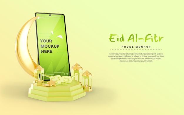 Eid mubarak para celebração islâmica com smartphone e maquete de ketupat