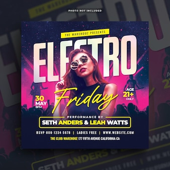 Electro friday party flyer post web banner em redes sociais
