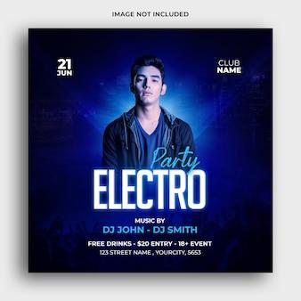 Electro music party mídia social post design premium psd