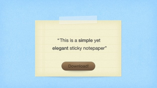 Elegante apontamentos pegajoso com botão de download