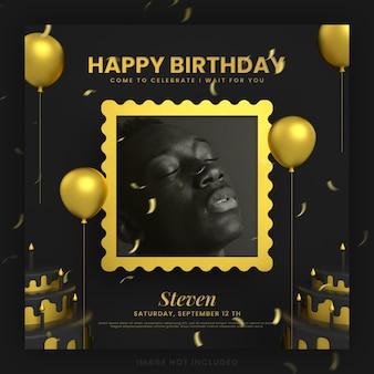 Elegante cartão de convite de feliz aniversário em ouro preto para maquete de modelo de postagem de mídia social instagram