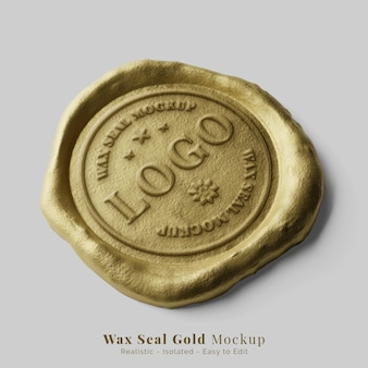 Elegante e tradicional lacre postal redondo com logotipo de cera dourada, perspectiva da maquete do logotipo