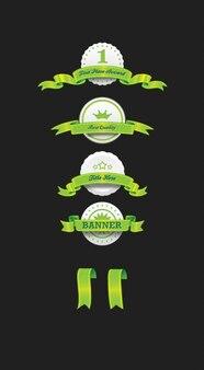 Elegante emblemas verdes com fitas