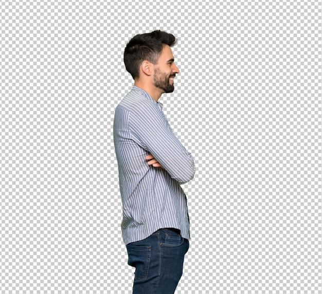 Elegante, homem, com, camisa, em, posição lateral