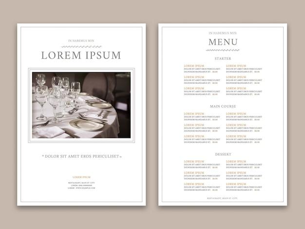 Elegante menu do restaurante