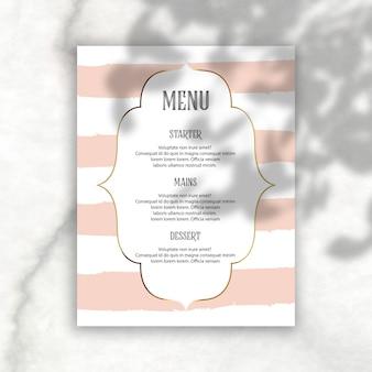 Elegante menu editável com sobreposição de sombra