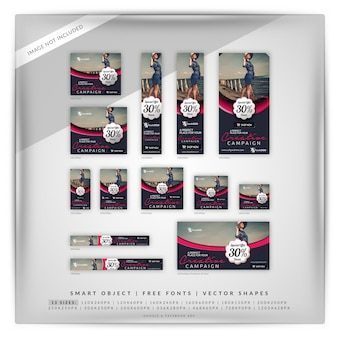 Elegante moda e venda marketing banner set
