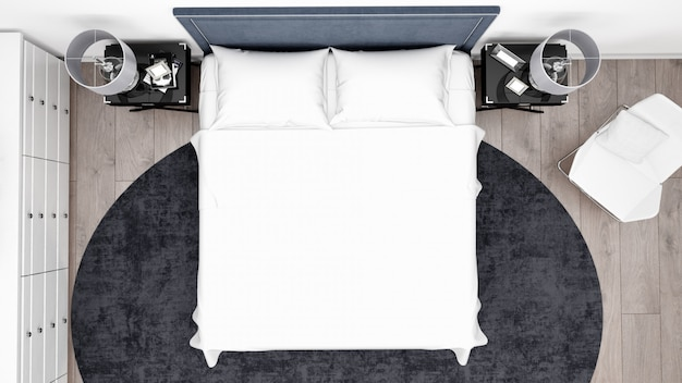 Elegante quarto ou quarto de hotel com móveis clássicos, vista superior